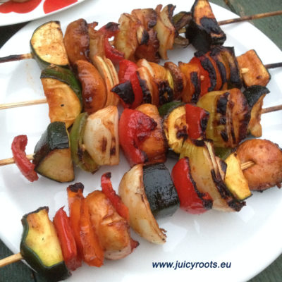 Grilled vegetables with coca-cola